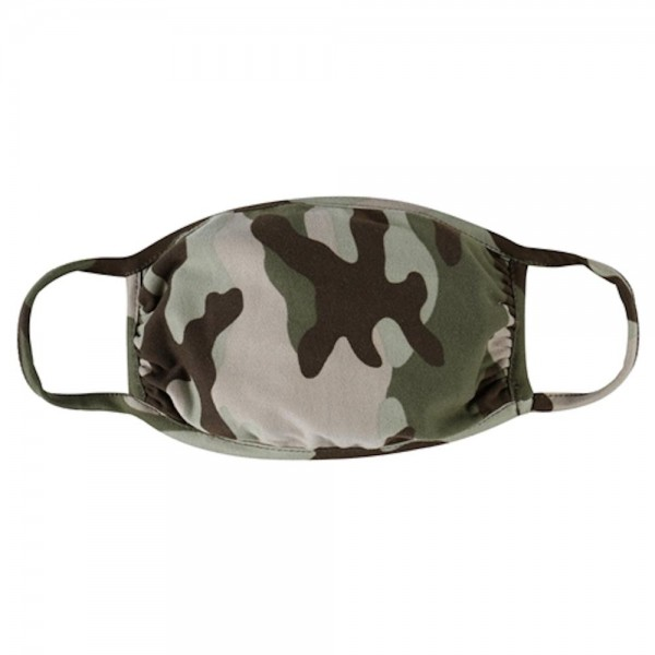 Reusable Camouflage T-Shirt Cloth Face Mask.  - Machine Wash in Cold - Mild Detergent - Lay Flat to Dry - Do Not Bleach - Reusable Face Mask - These Mask have NO Filter - One Size Fits Most Adults - Exterior Material: 95% Polyester / 5% Spandex - Interior Material: Cotton Blend in Ivory or White  These Masks Are Not For Professional Use and Not Medically Rated. These Masks Have No Proven Effectiveness Against Any Viruses.