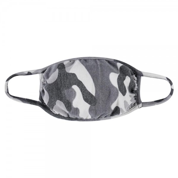 Adults Reusable Washed Out Camouflage T-Shirt Cloth Face Mask.  - Machine Wash in Cold - Mild Detergent - Lay Flat to Dry - Do Not Bleach - Reusable Face Mask - These Mask have NO Filter - One Size Fits Most Adults - Exterior Material: 95% Polyester / 5% Spandex - Interior Material: Cotton Blend in Ivory or White  These Masks Are Not For Professional Use and Not Medically Rated. These Masks Have No Proven Effectiveness Against Any Viruses.