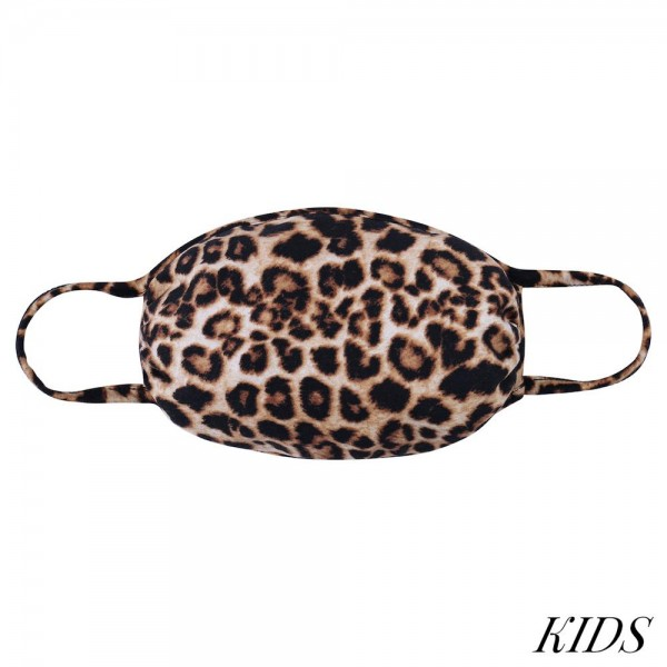KIDS Reusable Leopard Print T-Shirt Cloth Face Mask.  - Machine Wash in Cold - Mild Detergent - Lay Flat to Dry - Do Not Bleach - Reusable Face Mask - These Mask Have NO Filter - One Size Fits Most KIDS (AGES 5-11) - Exterior Material: 95% Polyester / 5% Spandex - Interior Material: Cotton Blend in Ivory or White  These Masks Are Not For Professional Use and Not Medically Rated. These Masks Have No Proven Effectiveness Against Any Viruses.