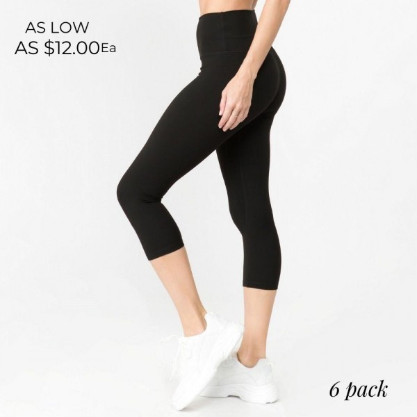 "Women's Active Buttery-Soft Capri Workout Leggings.  • 5"" high rise waistband lies flat against your skin • Ultra buttery soft fabrication • Squat Proof • Interior waistband pocket can hold keys, cards, cash • 4-way stretch for a move-with-you feel • Double inner leg seams for zero bagginess • Moisture wicking • Stretchy and comfortable • Imported  - Pack Breakdown: 6pcs/pack - Sizes: 2-S / 2-M / 2-L - Inseam approximately 20"" L - 75% Nylon / 25% Spandex"