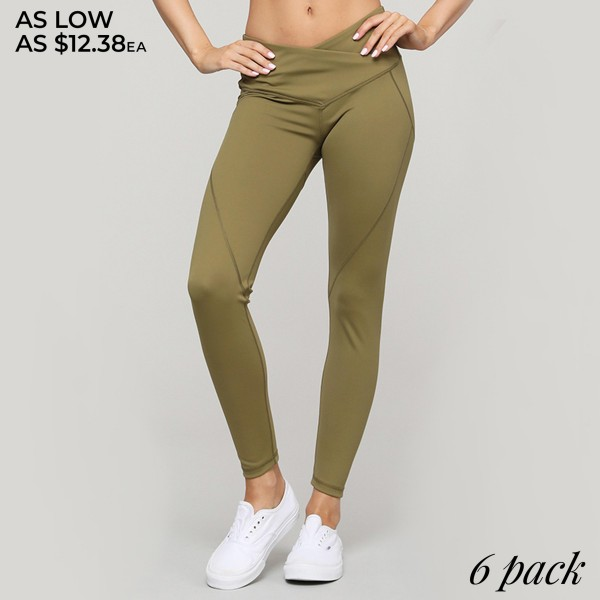 "Women's Active Solid Olive V-Waistband Athletic Leggings.  • Mid-rise v-waistband defines and flatters • 4-way stretch for a move with you feel • Fits like a glove • Squat Proof • Full length design • Moisture wick fabric • Flat lock seams prevent chafing • Great for low-high impact workouts or lounging • Imported   - Pack Breakdown: 6pcs/pack - Sizes: 2-S / 2-M / 2-L - Inseam approximately 28"" L - 83% Nylon / 17% Spandex"