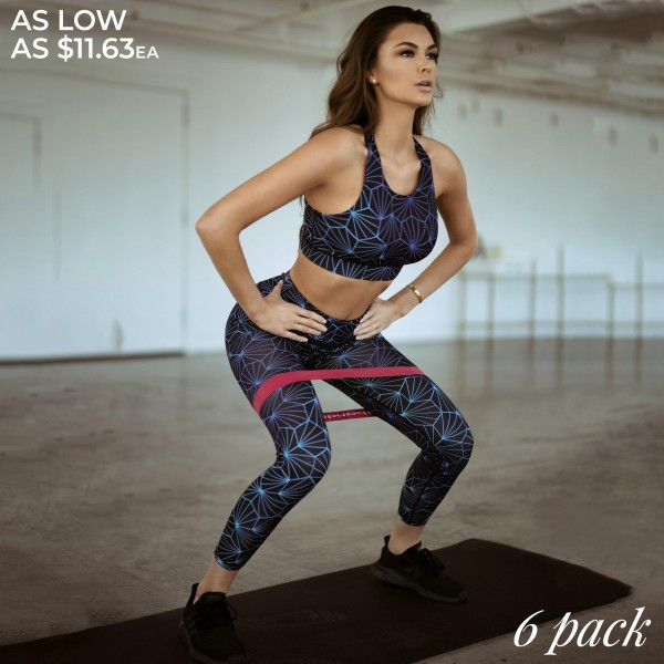 """Women's Active Geometric Honeycomb Print Athletic Leggings.  • Elasticized pocket waistband • Unique honeycomb print design • 4-way stretch for a move-with-you feel • Super soft brushed knit fabrication • Moisture wicking fabric • Flat stitched seams prevent chafing • Triangular Cotton Gusset Lining • Squat Proof • Fits like a glove • Great for all low-high impact workouts • Imported  - Pack Breakdown: 6pcs/pack - Sizes: 2-S / 2-M / 2-L  - Inseam approximately 28"""" L - 46% Polyester / 41% Nylon / 13% Spandex"""