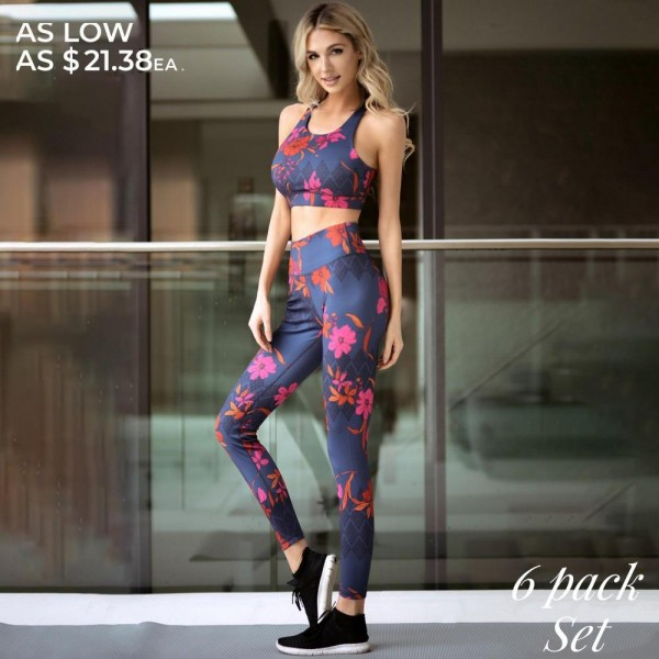 Women's Active Botanical Floral Athletic Sports Set.  • High neckline • Removable padding provides support & shaping • Racerback design • High rise elasticized waistband with hidden pocket for loose items • Botanical floral pattern throughout • Fits like a glove • 4-way stretch for more movement • Moisture wick fabric • Flat lock seams prevent chafing • Triangular Cotton Gusset Lining • Pull on/off styling • Imported  - Pack Breakdown: 6pcs/pack - Sizes: 2-S / 2-M / 2-L  - Top Composition: - Body: 46% Polyester / 41% Nylon / 13% Spandex - Lining 1: 80% Nylon / 20% Spandex - Lining 2: 75% Nylon / 25% Spandex
