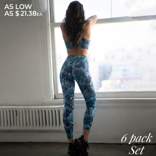 Women's Active Palm Leaf Print Athletic Sports Set.  • High neckline • Removable padding that provides support & shaping • Racer-back design • Elasticized high rise waistband • Hidden pocket on waist for phone, keys, cash • Palm leaf print throughout • Fits like a glove • 4-way stretch for more movement • Moisture wick fabric • Full length design • Flat lock seams prevent chafing • Triangular Cotton Gusset Lining • Pull on/off styling • Imported  - Pack Breakdown: 6pcs/pack - Sizes: 2-S / 2-M / 2-L - Top Composition: - Body: 46% Polyester / 41% Nylon / 13% Spandex - Lining 1: 80% Nylon / 20% Spandex - Lining 2: 75% Nylon / 25% Spandex