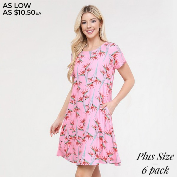 """Women's Plus Size Pink Birds of Paradise Printed Dress with Pockets.  • Round neckline • Short sleeves • Two pockets to keep your hands warm • A-line silhouette • Soft and comfortable fabrication • Pull on/off design • Imported  - Pack Breakdown: 6pcs/pack - Sizes: 2-XL / 2-2XL / 2-3XL - Approximately 34"""" L - 95% Polyester / 5% Spandex"""