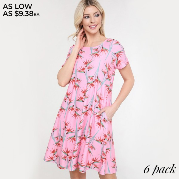 "Women's Birds of Paradise Printed Dress with Pockets.  • Round neckline • Short sleeves • Two pockets to keep your hands warm • A-line silhouette • Soft and comfortable fabrication • Pull on/off design • Imported  - Pack Breakdown: 6pcs/pack - Sizes: 2-S / 2-M / 2-L  - Approximately 34"" L - 95% Polyester / 5% Spandex"