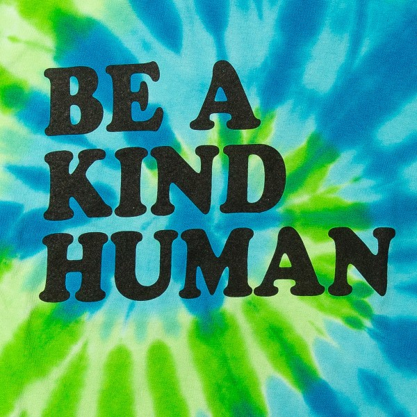 "Tie-Dye Colortone Brand ""Be A Kind Human"" Printed Graphic Tee.  - Pack Breakdown: 6pcs/pack - Sizes: 1-S / 2-M / 2-L / 1-XL  - 100% Cotton"