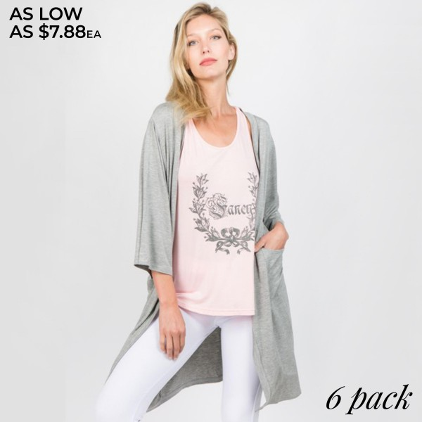 "Women's Heather Grey Lightweight Knit Cardigan.  • Open Front • Front Side Pockets • 3/4 Dolman Sleeves • Longline Silhouette • Loose Fit through Body • Care: Hand Wash Cold, Do not Bleach, Tumble Dry, Iron Low, Do not Dry Clean • Imported  - Pack Breakdown: 6pcs/pack - Sizes: 2-S / 2-M / 2-L  - Approximately 34"" L - 95% Rayon / 5% Spandex"