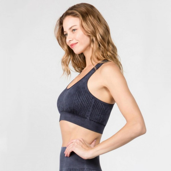 Women's Stone Wash Seamless Sports Bra. (6 Pack)  • Scoop neckline • Two removable pads for support & shaping • Racerback • Seamless design • Moisture wick fabric • Stretchy and comfortable • Stone washed rinse • Compressive Fit  - Pack Breakdown: 6 Sports Bras Per Pack - Sizes: 2-S / 2-M / 2-L  - 94% Nylon / 6% Lycra
