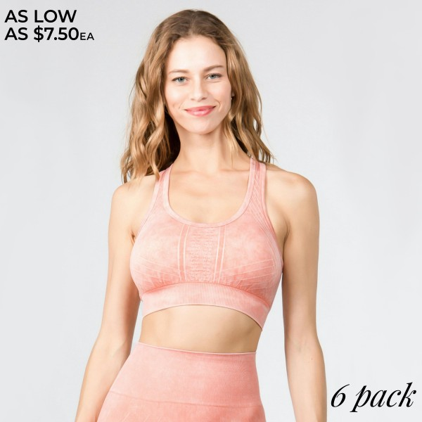 Women's Stone Wash Seamless Sports Bra.   • Scoop neckline • Two removable pads for support & shaping • Racerback • Seamless design • Moisture wick fabric • Stretchy and comfortable • Stone washed rinse • Compressive Fit  - Pack Breakdown: 6pcs/pack - Sizes: 2-S / 2-M / 2-L  - 94% Nylon / 6% Lycra