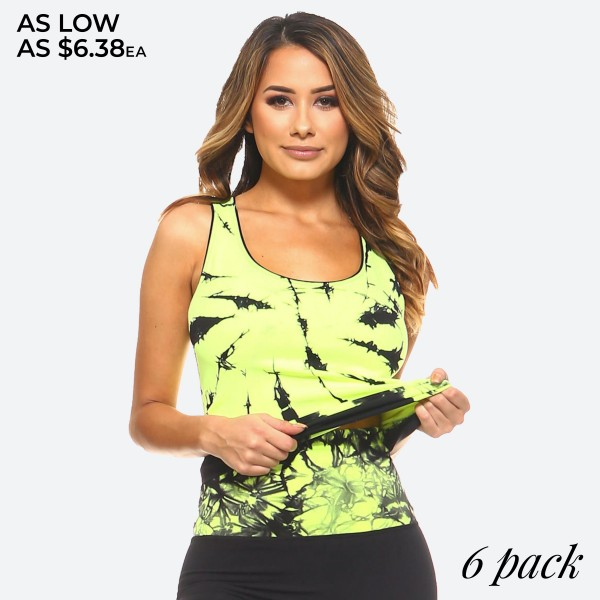 Women's Seamless Tie-Dye Tank Top.  • Semi-fitted performance racerback tank top • Scooped Neckline • Fun, tie dye prints to jazz up any workout ensemble • Care Instructions: Hand wash or wash with like colors / Tumble dry low / Do not bleach or iron  - Pack Breakdown: 6pcs/pack - Sizes: 3-S/M / 3-L/XL - 92% Nylon / 8% spandex