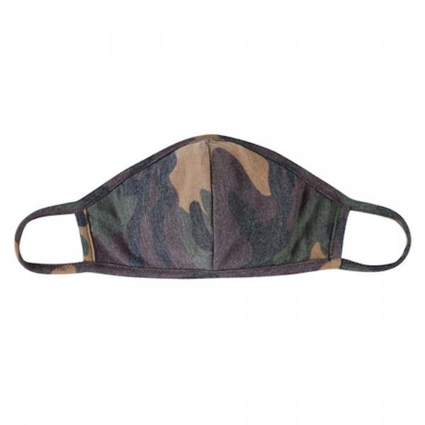 Wholesale adults Reusable Camouflage T Shirt Cloth Mask Seam Machine Wash Cold M