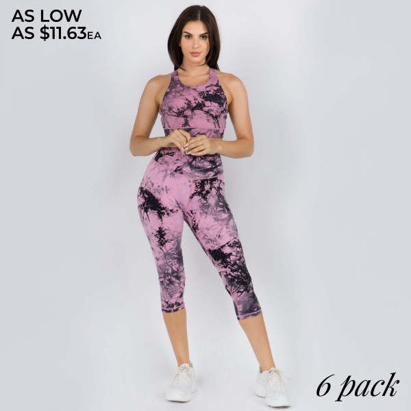"""Women's Active Buttery Soft Tie-Dye Capri Leggings.  • Elasticized pocket waistband • Unique tie-dye print design • 4-way stretch for a move-with-you feel • Super soft brushed knit fabrication • Moisture wicking fabric • Cotton Gusset Lining • Squat Proof • Fits like a glove • Great for all low-high impact workouts • Imported  - Pack Breakdown: 6cps/pack - Sizes: 2-S / 2-M / 2-L - Inseam Approximately 25"""" L - 75% Nylon / 25% Spandex"""