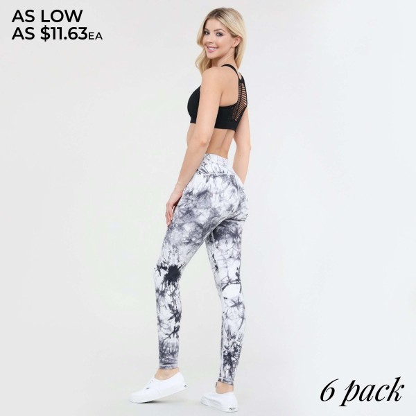 "Women's Active Buttery Soft Tie-Dye Workout Capri Leggings.  • Elasticized pocket waistband • Unique tie-dye print design • 4-way stretch for a move-with-you feel • Super soft brushed knit fabrication • Moisture wicking fabric • Cotton Gusset Lining • Squat Proof • Fits like a glove • Great for all low-high impact workouts • Imported  - Pack Breakdown: 6 Pair Per Pack - Sizes: 2-S / 2-M / 2-L - Inseam Approximately 25"" L - 75% Nylon / 25% Spandex"