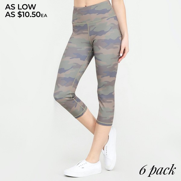 "Women's Active Camouflage Capri Leggings.  • High rise elasticized waistband • Hidden pocket for keys, cash, or phone • Reinforced high rise style waistband with open pocket • Camouflage print throughout • Squat Proof • Flat lock seams prevent chafing • Stretchy and soft • Moisture wicking fabric • Stretchy, smooth and lightweight fabric • Triangle crotch cotton lined gusset eliminates camel toe • Imported  - Pack Breakdown: 6pcs/pack - Sizes: 2-S / 2-M / 2-L  - Inseam approximately 25"" L - 46% Polyester / 41% Nylon / 13% Spandex"