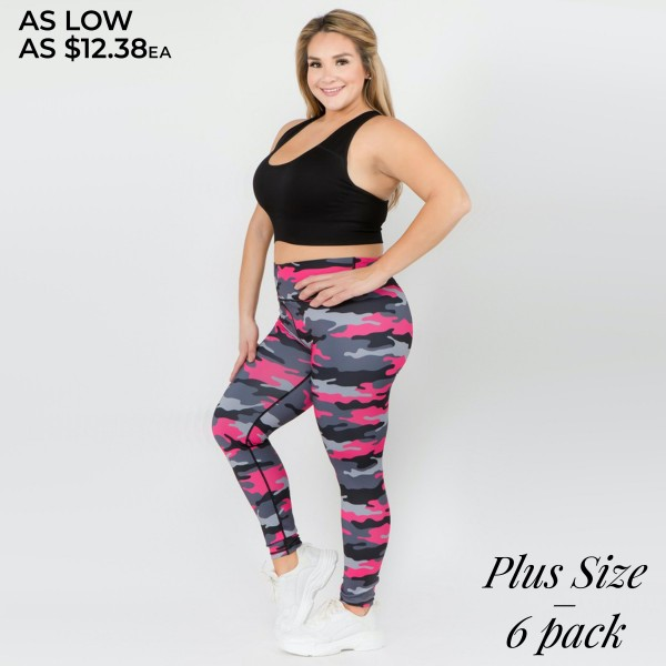 "Women's Active Plus Size Pink Camouflage Workout Leggings.  • High rise waistband features hidden pocket for phone or other loose items • Pink camouflage print • 4 way stretch for a move with you feel • Full length design • Fits like a glove • Flat lock seams prevent chafing • Triangular Cotton Gusset Lining • Moisture wick fabric • Perfect for all low to high impact workouts • Pull on/off styling • Imported  - Pack Breakdown: 6pcs/pack - Sizes: 3-XL / 2-2XL / 1-3XL - Inseam approximately 28"" L - 46% Polyester / 41% Nylon / 13% Spandex"