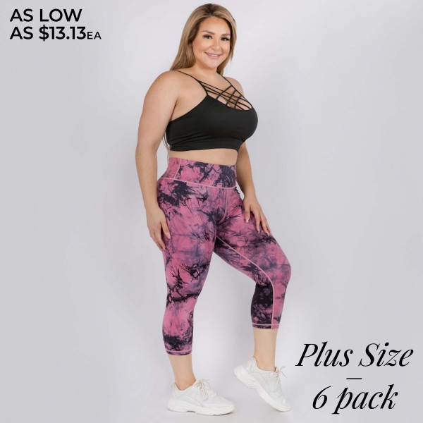 """Women's Plus Size Active Buttery Soft Tie-Dye Capri Workout Leggings.  • Elasticized pocket waistband • Unique tie-dye print design • 4-way stretch for a move-with-you feel • Super soft brushed knit fabrication • Moisture wicking fabric • Cotton Gusset Lining • Squat Proof • Fits like a glove • Great for all low-high impact workouts • Imported  - Pack Breakdown: 6pcs/pack - Sizes: 3-XL / 2- 2XL / 1-3XL - Inseam approximately 18"""" L - 75% Nylon / 25% Spandex"""