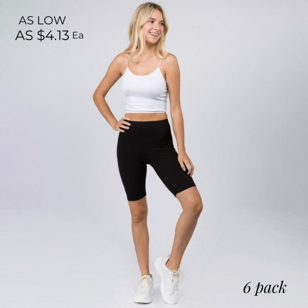 """Women's Peach Skin Biker Shorts. (6 Pack)  • Peach Skin • Short leg design • Comfortable and easy pull-up style • Solid color, Very Stretchy • Fits like a Glove • Imported  - Pack Breakdown: 6 Pair Per Pack - Sizes: 3-S/M & 3-M/L - Inseam Approximately 8"""" L - 95% Polyester / 8% Spandex"""