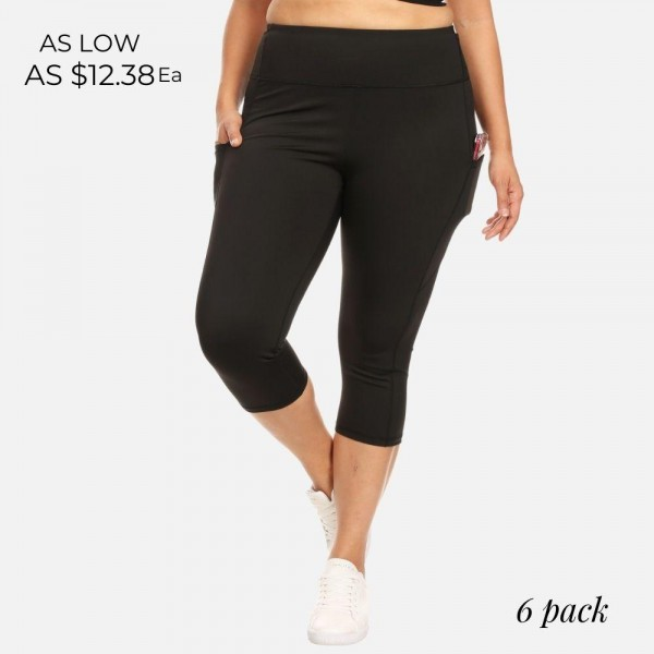 "Women's Plus Size Active High Rise Capri Athletic Leggings with Pockets.  • Flattening elasticized waistband with interior pocket and back zipper pocket • Figure sculpting skinny leg design • Exterior side pocket along leg • Stretchy nylon fabric moves with you, slims, and is quick drying • flat seams for a no-chafe irritation • 4-way-stretch fabric for a move-with-you feel • Flat lock seams prevent chafing • Triangular Cotton Gusset Lining • Hand Wash Cold, Do Not Bleach, Hang Dry • Imported  - Pack Breakdown: 6pcs/pack - Sizes: 3-XL / 2-2XL / 1-3XL - Inseam Approximately 25"" L - 88% Polyester / 12% Spandex"