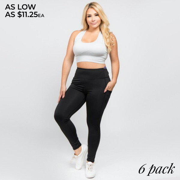"Women's Plus Size Active High Waist Tech Pocket Workout Leggings.  • Flattening elasticized waistband with interior pocket and back zipper pocket • Figure sculpting skinny leg design • Exterior side pocket along leg • Stretchy nylon fabric moves with you, slims, and is quick drying • flat seams for a no-chafe irritation • 4-way-stretch fabric for a move-with-you feel • Flat lock seams prevent chafing • Ankle-length • Hand Wash Cold, Do Not Bleach, Hang Dry • Imported  - Pack Breakdown: 6pcs/pack - Sizes: 2-XL / 2-2XL / 2-3XL - Inseam approximately 28"" L - 88% Polyester / 12% Spandex"