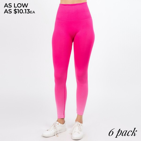 """Women's Active High Rise Dip Dye Athletic Leggings.  • Rib knit high rise waistband • Unique ombre print • All over compression/support - No chaffing/rubbing • Long, skinny leg design • Squat Proof • Dip Dye • Thick, comfortable waistband. • Pull-on styling: thick elastic waistband • Polyester/Spandex • Hand Wash Cold. Do not bleach. Hang Dry • Imported  - Pack Breakdown: 6pcs/pack - Sizes: 2-S / 2-M / 2-L  - Inseam Approximately 28"""" L - 92% Nylon / 8% Spandex"""