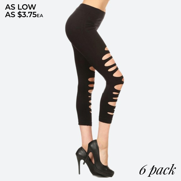 """Women's Black Ripped Capri Leggings.  • Elastic Waistband • Long, Skinny leg design • Distressing accents on front • Pull Up Style • High Waisted • Pull-on styling • Nylon/Spandex • Hand Wash Cold. Do not bleach. Hang Dry • Imported  - Pack Breakdown: 6pcs/pack - Sizes: ONE SIZE Fits most 0-14 - Inseam Approximately 16"""" L - 92% Nylon / 8% Spandex"""
