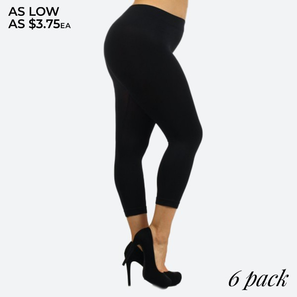 """Women's Plus Size Solid Black Nylon Seamless Capri Leggings.  • Long, skinny leg design • Lightweight, Breathable • Light Sheen to Fabric • Pull-on styling 26"""" Length • Thick elastic 1¾"""" waistband • Nylon/Spandex • Hand Wash Cold. Do not bleach. Hang Dry • Imported  - Pack Breakdown: 6pcs/pack - Sizes: PLUS SIZE Fits most 16-22 - Inseam Approximately 25"""" L - 92% Nylon / 8% Spandex"""