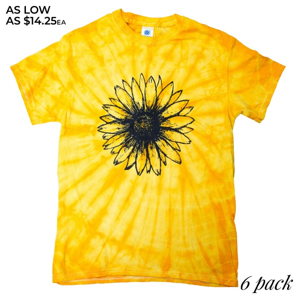 Wholesale yellow Sunflower Tie Dye Tee Printed ColorTone Brand Tee Pack Breakdow