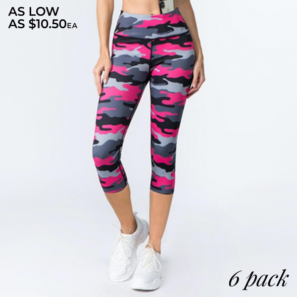 Wholesale women s Active Pink Camouflage Workout Capri Leggings o rise waistband