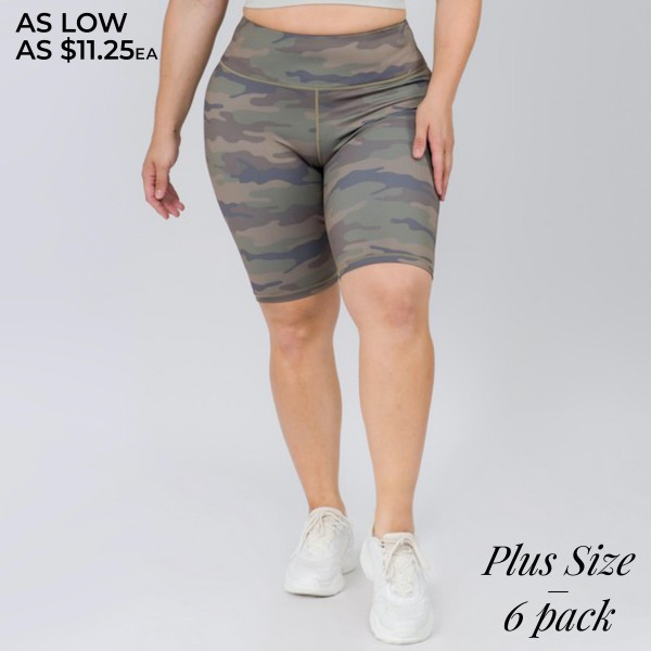 "Women's Plus Size Active Camouflage Workout Biker Shorts.  • High rise elasticized waistband • Hidden pocket for keys, cash, or phone • Reinforced high rise style waistband with open pocket • Camouflage print throughout • Squat Proof • Flat lock seams prevent chafing • Stretchy and soft • Moisture wicking fabric • Stretchy, smooth and lightweight fabric • Triangle crotch cotton lined gusset eliminates camel toe • Imported  - Pack Breakdown: 6pcs/pack - Sizes: 3-XL / 2-2XL / 1-3XL - Inseam approximately 8"" L - 46% Polyester / 41% Nylon / 13% Spandex"