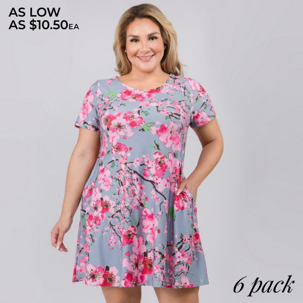 """Women's Plus Size Cherry Blossom Print Dress.  • Round neckline • Cherry print • Short sleeves • Two pockets to keep your hands warm • A-line silhouette • Soft and comfortable fabrication • Pull on/off design • Imported  - Pack Breakdown: 6pcs/pack - Sizes: 2-XL / 2-2XL / 2-3XL - Approximately 34"""" L - 95% Polyester / 5% Spandex"""