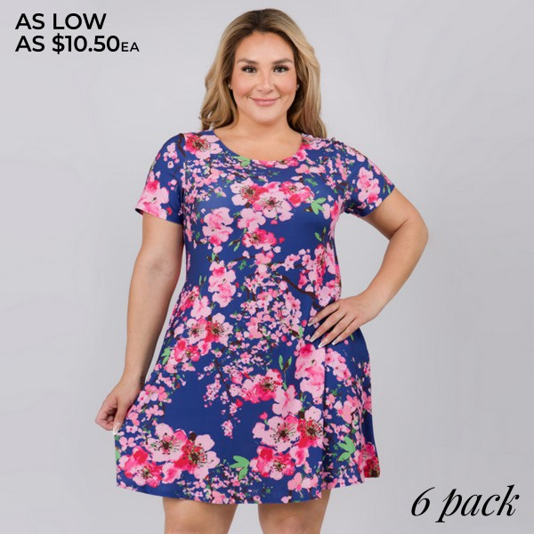 "Women's Plus Size Cherry Blossom Print Dress.  	• Round neckline • Cherry print • Short sleeves • Two pockets to keep your hands warm • A-line silhouette • Soft and comfortable fabrication • Pull on/off design • Imported  - Pack Breakdown: 6pcs/pack - Sizes: 2-XL / 2-2XL / 2-3XL - Approximately 34"" L - 95% Polyester / 5% Spandex"