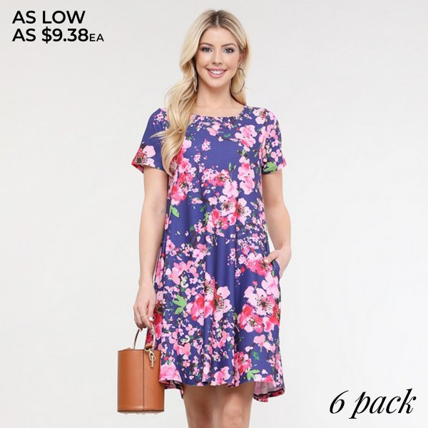 "Women's Cherry Blossom Print Dress.  • Round neckline • Cherry print • Short sleeves • Two pockets to keep your hands warm • A-line silhouette • Soft and comfortable fabrication • Pull on/off design • Imported  - Pack Breakdown: 6pcs/pack - Sizes: 2-S / 2-M / 2-L  - Approximately 34"" L  - 95% Polyester / 5% Spandex"