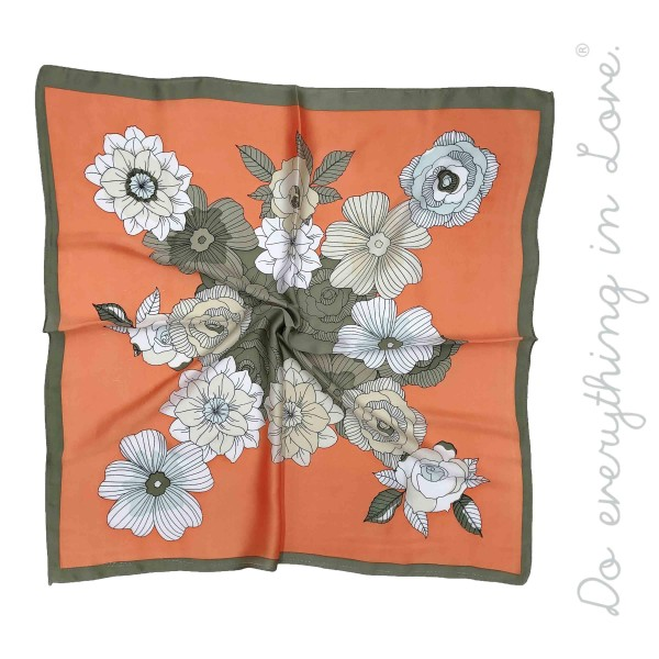 """Do everything in Love Brand Silky Floral Print Square Scarf.  - Approximately 27"""" x 28""""  - 100% Polyester"""