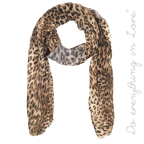 """Do everything in Love Brand Leopard Print Scarf.  - Approximately 37"""" W x 75"""" L - 100% Polyester"""