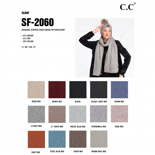 "C.C SF-2060 Diagonal Stripe Criss-Cross Knit Pattern Scarf.  - Approximately 80"" L x 12"" W  - 47% Rayon / 31% PBT / 22% Nylon"