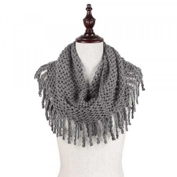 Wholesale mini Tube Knit Scarf Fringe Tassels Loop Acrylic