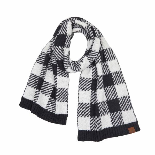 Wholesale c C SF Buffalo Check Jacquard Knit Scarf L W Polyester