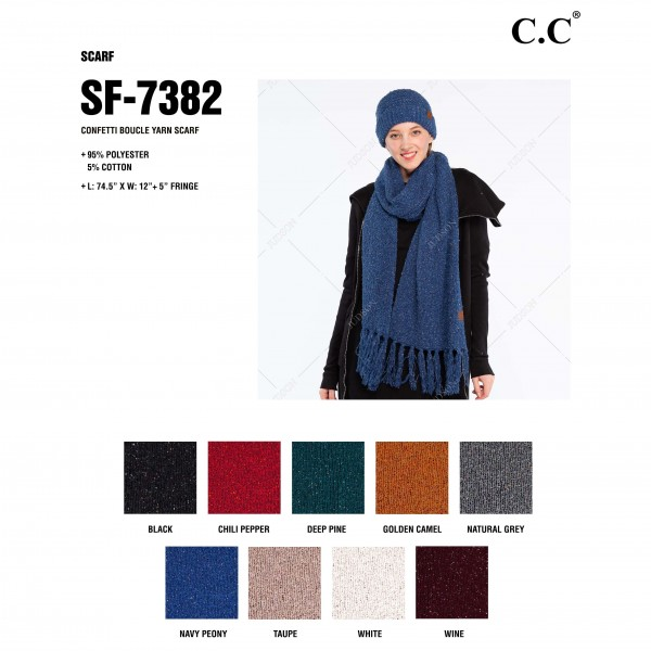 """C.C SF-7382 Confetti Boucle Yarn Knit Scarf Featuring Fringe Tassels.  - Approximately 74"""" L x 12.5"""" W + Fringe: 5""""  - 95% Polyester / 5% Spandex"""