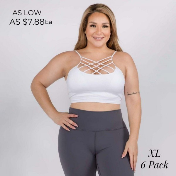 Women's Plus Size Active Seamless Criss Cross Sports Bra.  • Comfortable caged straps on neckline • Two removable pads for light support & shaping • Seamless design reduces chafing • Soft, stretchy, moisture wick fabric • Closure Style: Pullover • Hand Wash Cold. Hang Dry. Do not Bleach • Imported  - Pack Breakdown: 6pcs/pack - Size: ALL XL - 92% Nylon / 8% Spandex