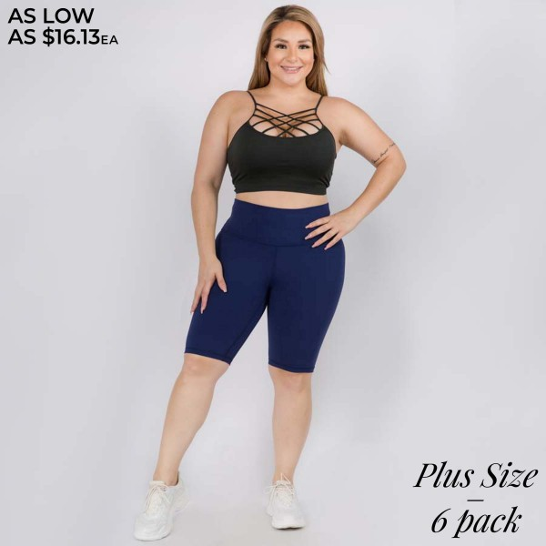 "Women's Plus Size Active Buttery Soft Workout Biker Shorts.  • Wide, high rise waistband lies flat against your skin • Interior waistband pocket can hold keys, cards, cash • Ultra buttery soft fabrication • Flat lock seams prevent chafing • 4-way stretch for a move-with-you feel • Double inner leg seams for zero bagginess • Active Buttery Soft Full Length Leggings • Stretchy and comfortable • Imported  - Pack Breakdown: 6pcs/pack - Sizes: 3-XL / 2-2XL / 1-3XL - Inseam approximately 10"" L - 75% Nylon / 25% Spandex"