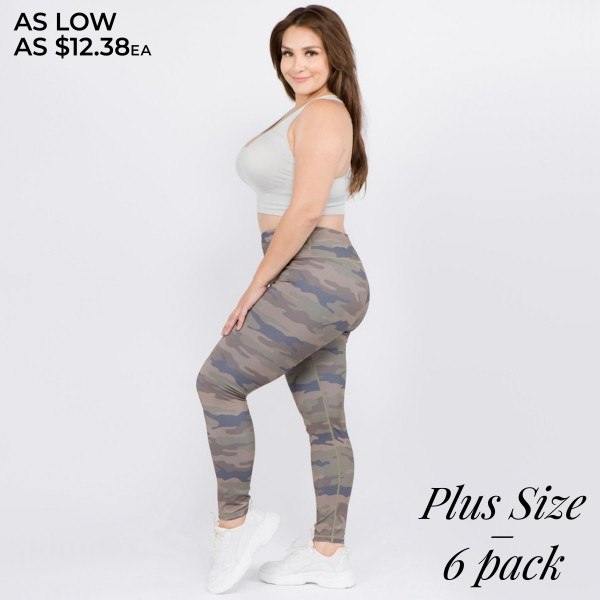 "Women's Plus Size Active Camouflage Workout Leggings.  • Reinforced high rise style waistband with open pocket • Camouflage print throughout • Flatlock seams along legs and triangle crotch gusset for flexibility & comfort • Stretchy and soft • Moisture wicking fabric • Stretchy, smooth and lightweight fabric • Imported  - Pack Breakdown: 6pcs/pack - Sizes: 3-XL / 2-2XL / 1-3XL - Inseam approximately 28"" L - 46% Polyester / 41% Nylon / 13% Spandex"
