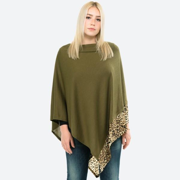 Wholesale women s Lightweight Knit Poncho Leopard Print Trim Detail One fits mos