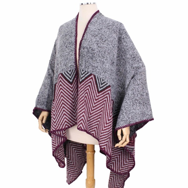 Chevron Print Pattern Cape/Ruana.  - One size fits most 0-14 - 100% Polyester