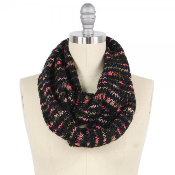 Wholesale multicolor Yarn Knit Infinity Scarf W L Polyester