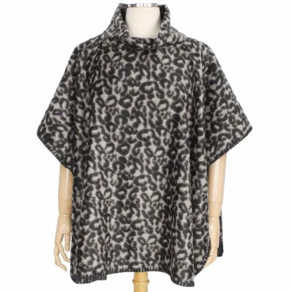 Wholesale fall Winter Leopard Print Poncho One fits most L Polyester