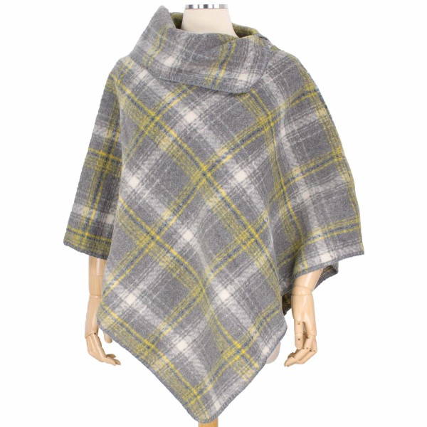 """Fall/Winter Plaid Lurex Poncho Featuring Cowl Neck.  - One size fits most 0-14 - Approximately 33"""" L  - 100% Polyester"""