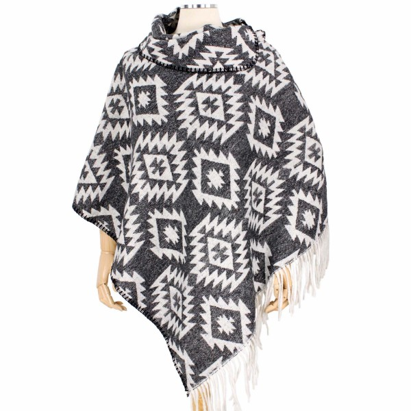 "Fall/Winter Western Print Tassel Poncho.  - One size fits most 0-14 - Approximately 33"" L  - 100% Polyester"