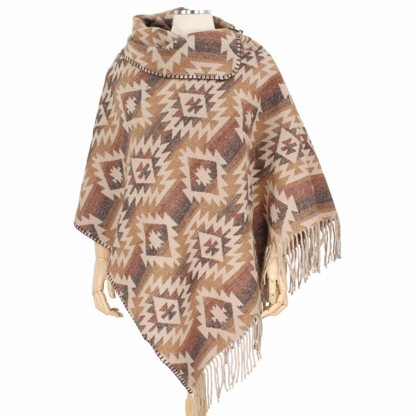 Wholesale fall Winter Western Print Tassel Poncho One fits most L Polyester