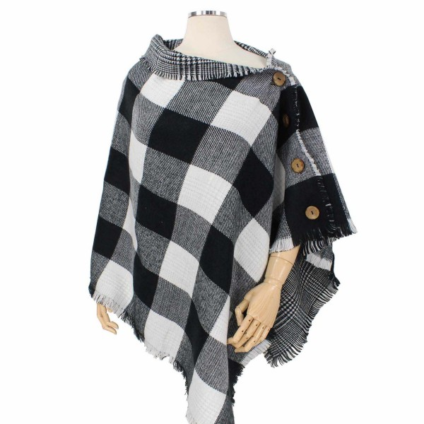 Wholesale reversible Buffalo Check Poncho Coconut Button Details One fits most A